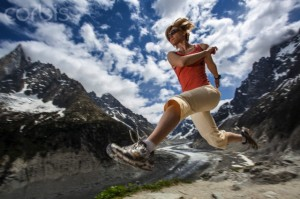 A female trail runner as seen during practice session at 2200 m above sea level in Chamonix, France on June 1 2012