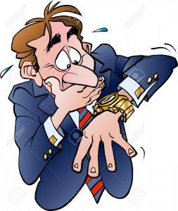46561429 Ilustraci n vectorial de dibujos animados de un hombre de negocios en la falta de tiempo Foto de archivo 253x300 - 10 ERRORES QUE NOS LLEVAN A SUFRIR LESIONES