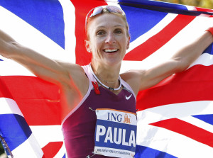 RADCLIFFE 300x223 - Paula Radcliffe of England holds the Union Jack after winning the Women's division of the 2008 New York City Marathon in New York