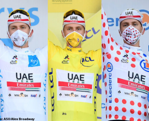 tadej pogacar tour francia 3 maillots 2020 aso fototeca 495x400 - ¿SE MERECE EL TOUR SER LA MEJOR CARRERA DEL AÑO?